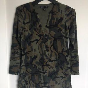 INC army print Silk/nylon Tunic Sz M
